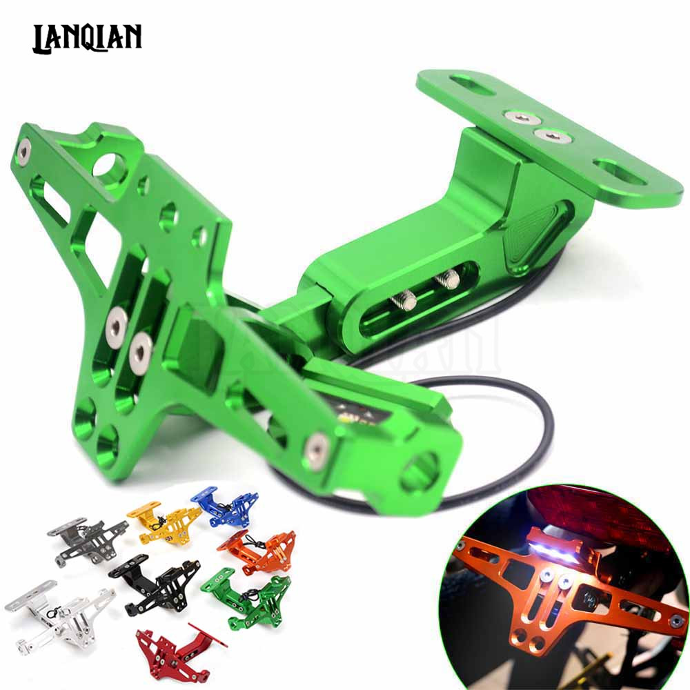 Motorcycle Registration License Plate Bracket Holder & Light For Kawasaki Ninja 300 600 ZX6R H2R ER6N ER6F z800 z750 Versys