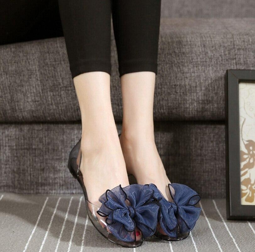 Melissa Sweet Jelly Summer Women's Sandals Peep Toe bowknot Transparent Material Flat Shoes Woman crystal jelly sandal Beach sho
