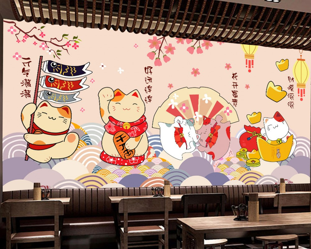 Free Shipping Hand Painted Lucky Cat Japanese Sushi Japanese Restaurant Sushi Shop Wall Custom 3d Photo Wallpaper Mural Wallpapers Aliexpress