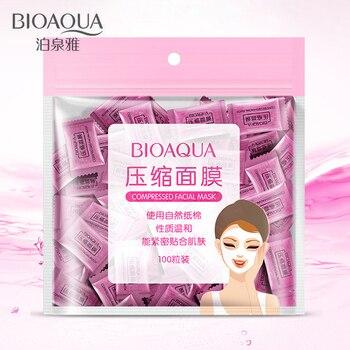 100Pcs/lot BIOAQUA Compression Face Mask Whitening Anti Acne Natural Cotton Close To The Skin DIY Skin Care Beauty Tools