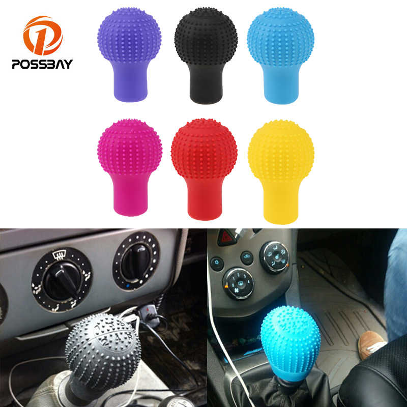 Possbay Mobil Styling Dekorasi Interior Gear Shift Kerah Silikon Kepala Shift Knob Cover Case Unviersal Rem Tangan Grip