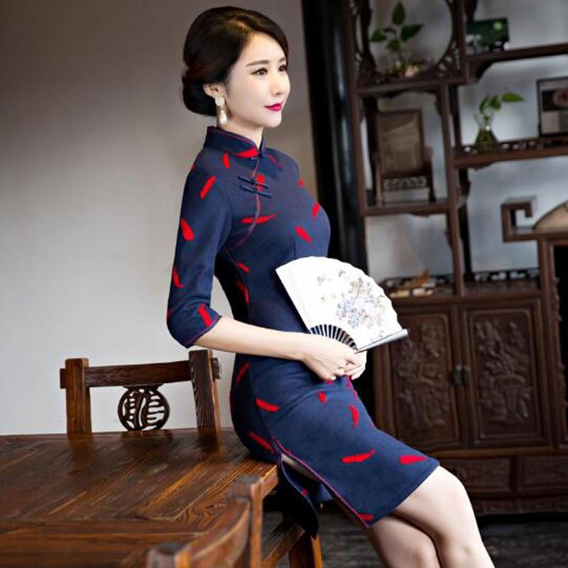 Зима Осень женская Атласная Cheongsam Хлопок и Шерстяные Короткие Qipao Леди Китайские Восточные Платья Традиционный Китайский Платье