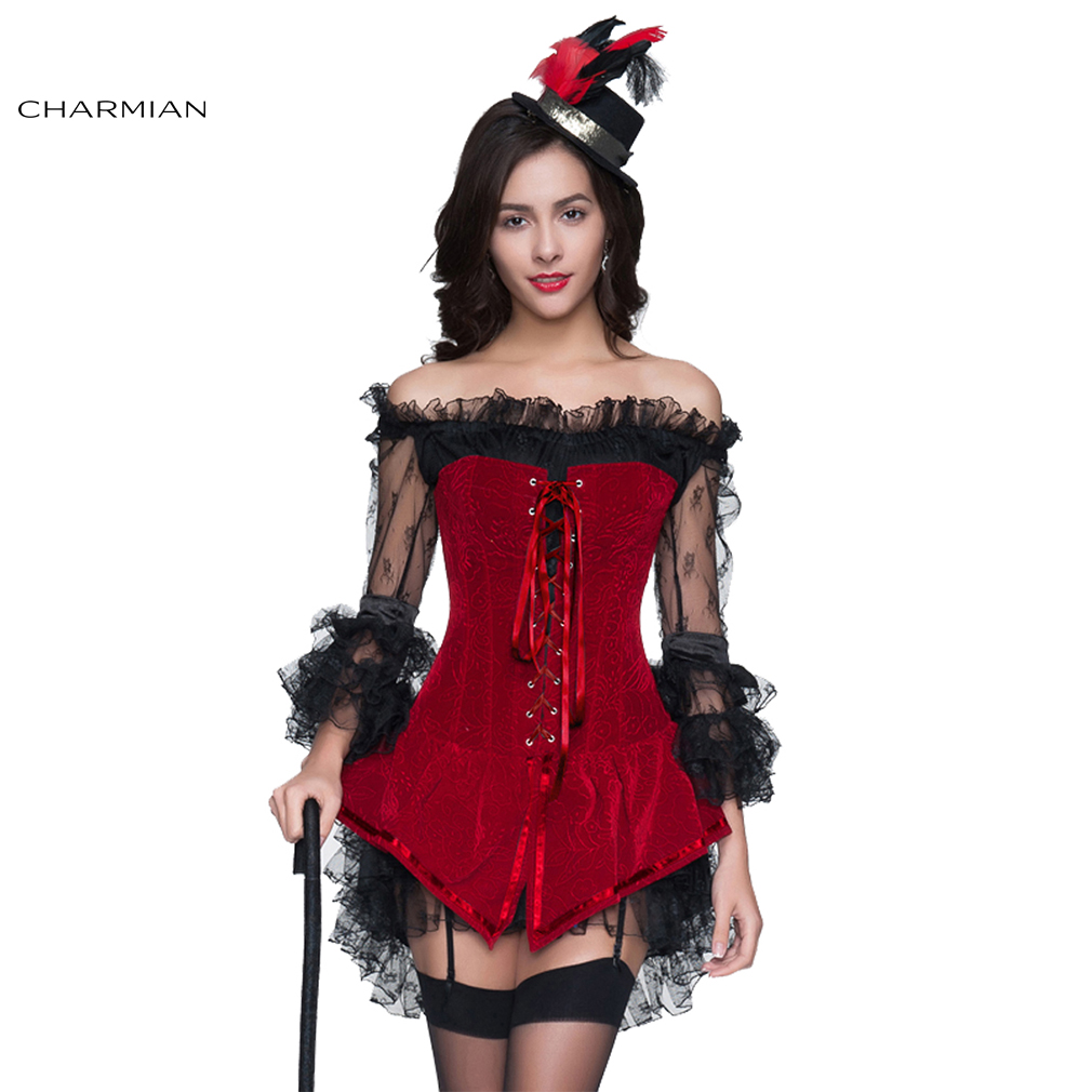 Charmian Women s Sexy Steampunk Gothic Retro Corset Dress Boned Corsets  Bustiers and Black Off Shoulder Lace Dress for Christmas-in Bustiers    Corsets from ... fe3d22cfd1b3