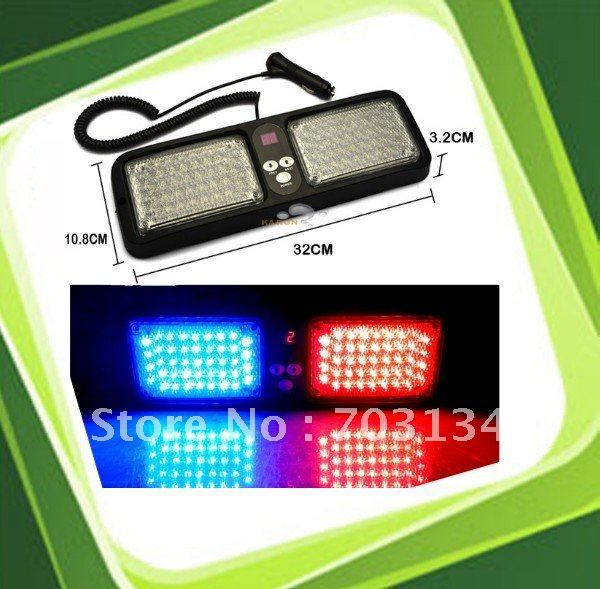 Top quality Car Led Warning light with 86 Led Red blue strobe flashing Police Fireman Emergency Safety light Sun Visor Lamp