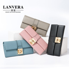 2017 Korean women's leather wallet long clutch bag