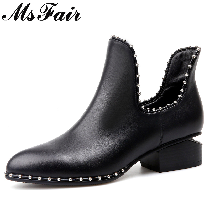 MsFair Pointed Toe Med Heel Women Boots Genuine Leather Rivet Metal Decoration Ankle Boot Woman Winter Ankle Boots Women Shoes msfair women pointed toe high heel boots genuine leather metal buckle women ankle boots winter thin heel ankle boots women shoes