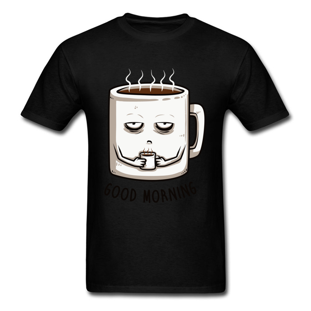 Summer Fashion Man Tees Good Morning Coffee Casual T Shirt 1:1 High Quality Brands Tops T-Shirt 100% Cotton Short Sleeveshirt