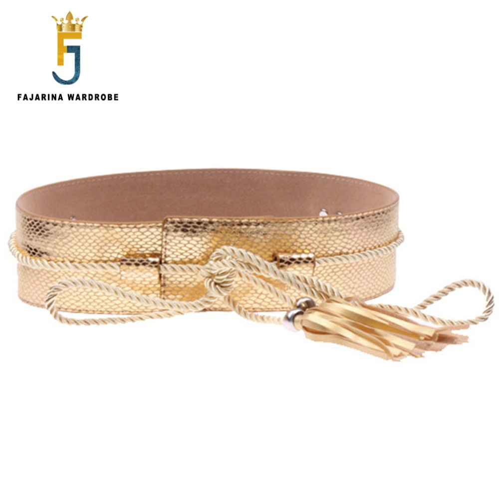 FAJARINA All-match Casual Women Decorative PU Leather Ladies Bandage Belts For Women Wide Waist Belt 6cm Width Skirt LDFJ062