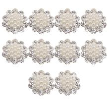 Faux Pearl Flower Buttons Craft Embellishments 20mm Pack of 10(China)