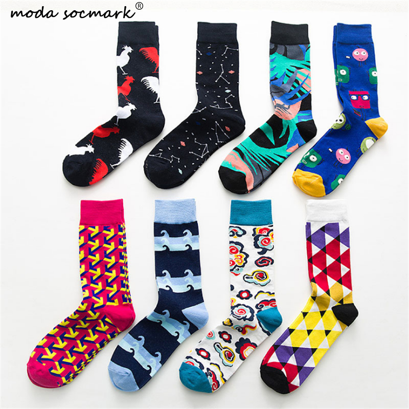 Moda Socmark Fashion Colorful Happy Socks Men Cartoon Rooster Cloud Soft Breathable Cotton Short Socks Casual Funny Socks Male