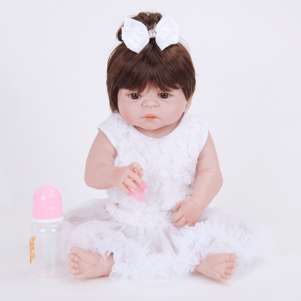 Full Body Silicone Vinyl Reborn Baby Doll Realistic Girl Babies Dolls 22 Inch 55cm with White Dress Kids Toy Birthday Gift 22 inch silicone dolls reborn boy 55cm full body realistic reborn baby doll bathed doll toy in soft blue clothes birthday gifts