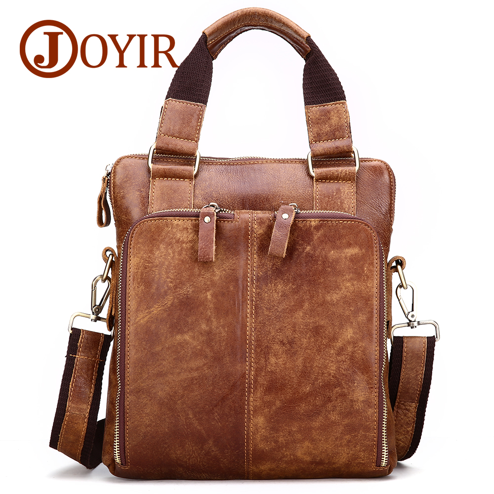 JOYIR Genuine Leather Men Briefcase Business Bags Male Cowhide Shoulder Crossbody Bags Handbags Messenger Men Leather Bag 8118