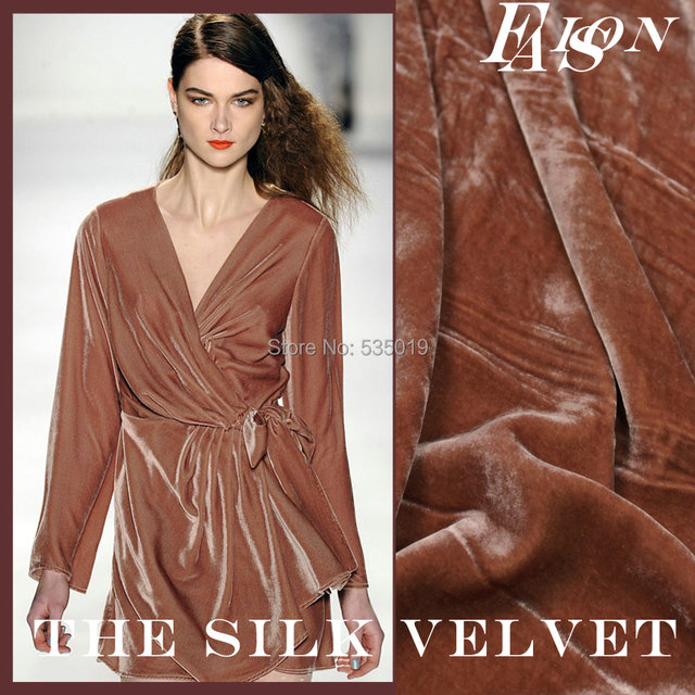 tissus au metre Velvet silk clothes mulberry silk velvet fabric autumn and winter thickening sleepwear cloth silk velvet stoffa