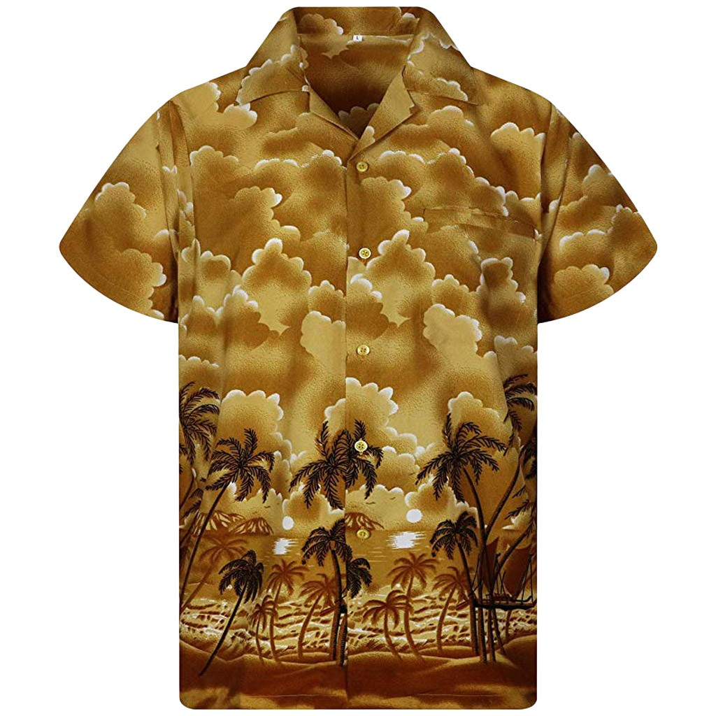 2019 Plus Size Summer Men Shirt Button Print Shirt Beach Short Sleeve Quick Dry Top Blouse 3XL Camisa Masculina Hawaiian Shirt