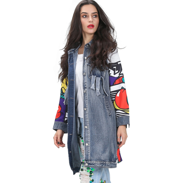 [TWOTWINSLTYLE] Spring Graffiti Print Spliced Ripped Pockets Long Sleeve Denim Trench Coat For Women New Clothing Streetwear