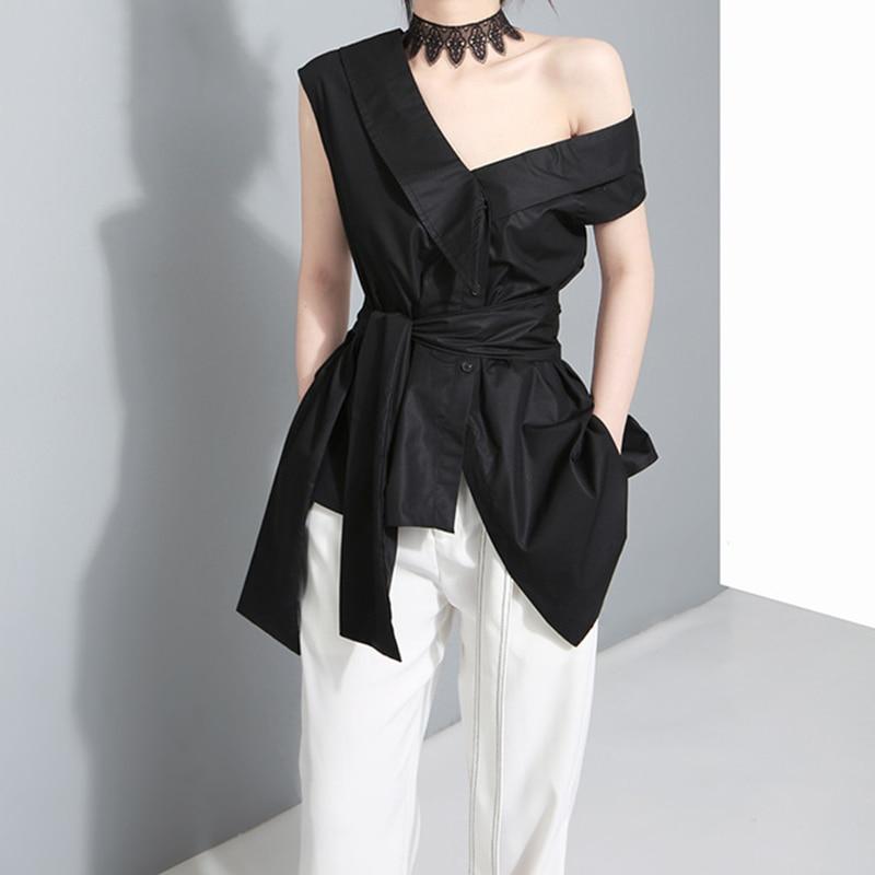 TWOTWINSTYLE Sleeveless Sashes Tunic Women's Blouses Shirts Summer 2019 V Collar Black Khaki Irregular Loose Shirt Tops Casual