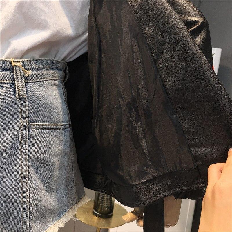 Rayures vent Revers Outwear Coupe Moto Occasionnel Noir Nouveau Beige De Veste 2018 Femmes Manteau Automne noir Laque Femelle En Cuir Rétro 1g7wqwXBn