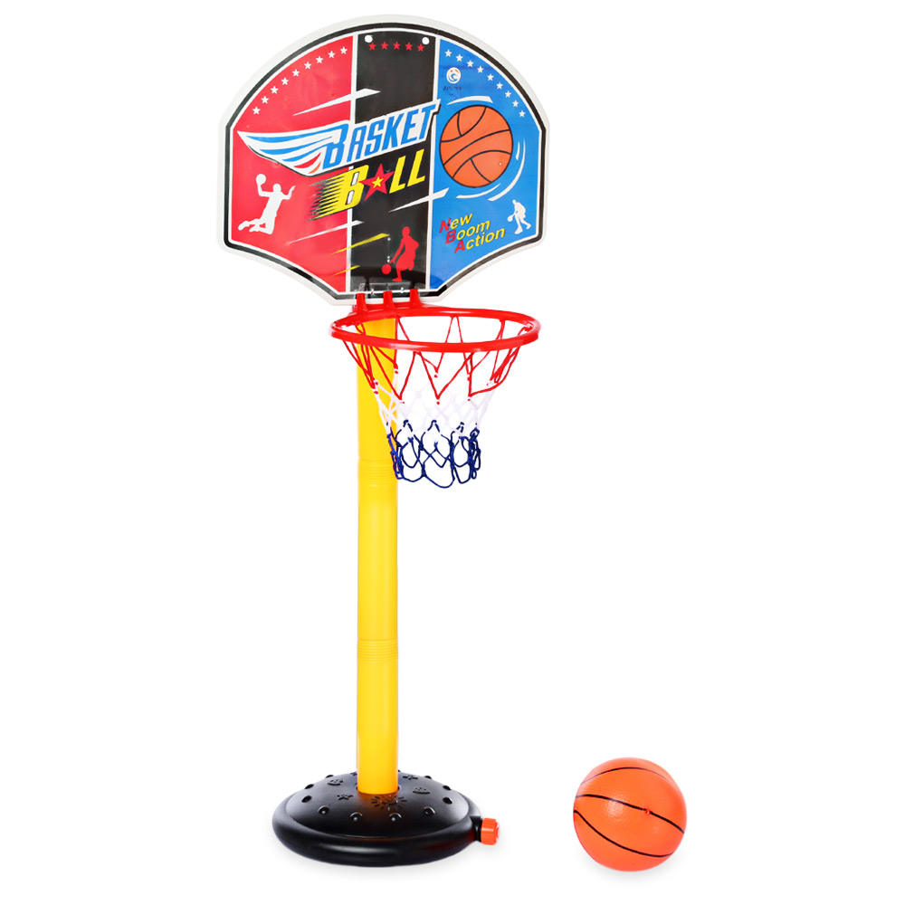 Large Basketball Backboard Stand Set With Inflator Pump Height Adjustable Basketball Stand Indoor Outdoor Kids Sports Game Toy
