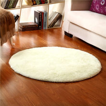 160cm Plush Soft White Kids Room Dec Play Mat Anti-slip Thick Big Round Floor Carpets For Living Room Bathroom Circle Mat Rug(China)