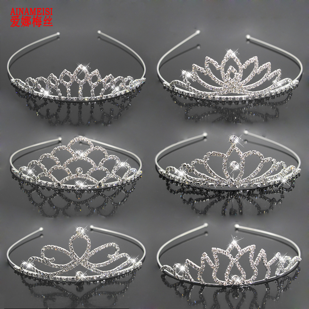 AINAMEISI Fashion Bridal Princess Crown Wedding Tiaras Hair Jewelry Rhinestone Headband Girls Children Tiara Hair Accessories
