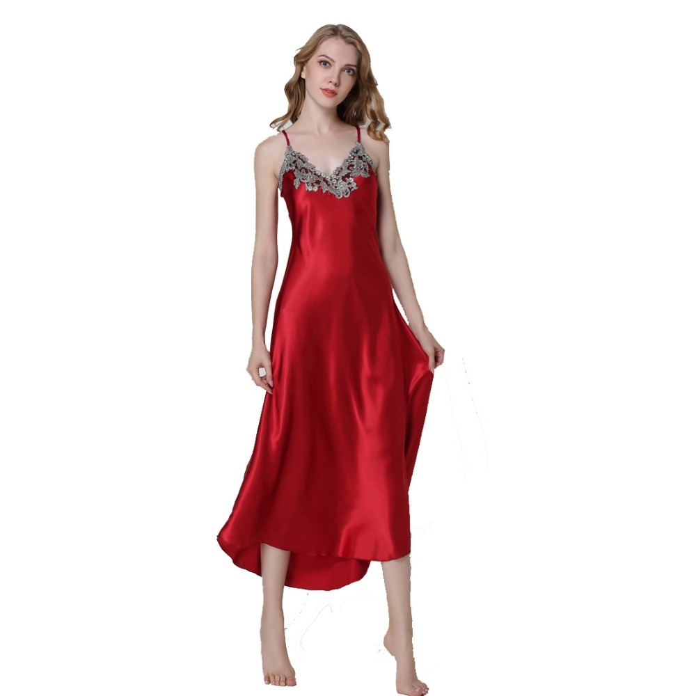 Detail Feedback Questions about Ladies Sexy Silk Satin Nightgown Sleeveless Nighties  Long Nightdress V neck Sleep Shirt Summer Night Dress Nightwear For ... c00a7a0268ac