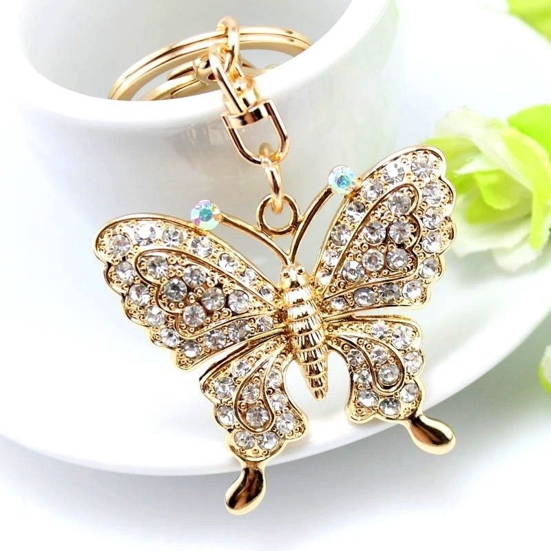 1pc Sweet Big Rhinestone Butterfly Keychain Cute Fashion Crystal Insect Charm Pendant Handbag Accessories Key Ring Jewelry