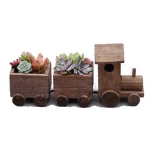 Caioffer Small Train Shape Gift Plant Garden Wooden Flower Pots Best Decoration For Office Balcony Home