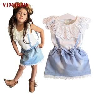 VIMIKID New Girls Clothing Set Minnie dot Cartoon short t-shirt + culottes pants children's clothing kids free shipping k1