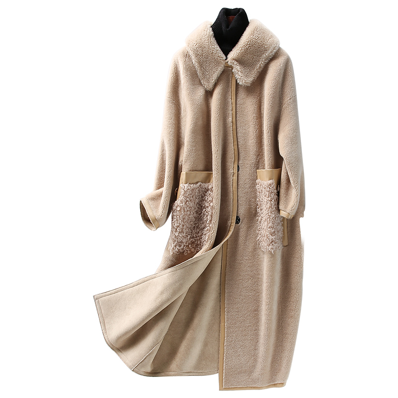 Femmes Daim Vraie Fourrure En Longs 100 Doublure Vêtements Automne Hiver Veste Mince Manteau Z955 Nouveau Vintage Européenne Camel Laine Manteaux w6qFpYxw
