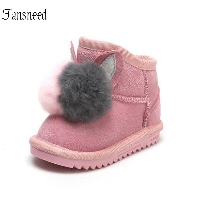 De bebé de cuero genuino botas de nieve niñas, además de terciopelo grueso botas de invierno botas de piel de conejo Rex bola decoración niños botas