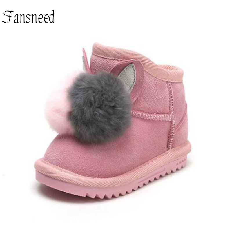 98bafd2217988 Genuine Leather Baby Snow Boots Girls Plus Velvet Thick Winter Boots Rex  Rabbit Fur ball Decoration Children Boots