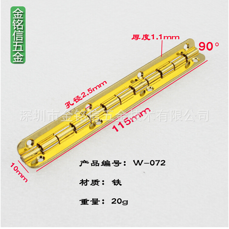 100PCS 10*115mm Cabinet Drawer Butt Hinge 8 hole piano hinge With screws Long Metal Hinge Wooden Gift Box gold Chrome W072 50pcs 24 16mm furniture hinge cabinet drawer door butt hinge antique gold decorative hinges for jewelry box furniture hardware