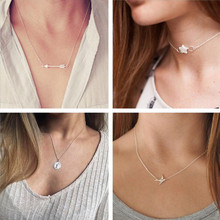 Tenande Simple Style Clavicle Chain Birds Anchor Dove Shell Hearts Necklaces & Pendants for Women Hot Sale Valentine's Day Colar(China)