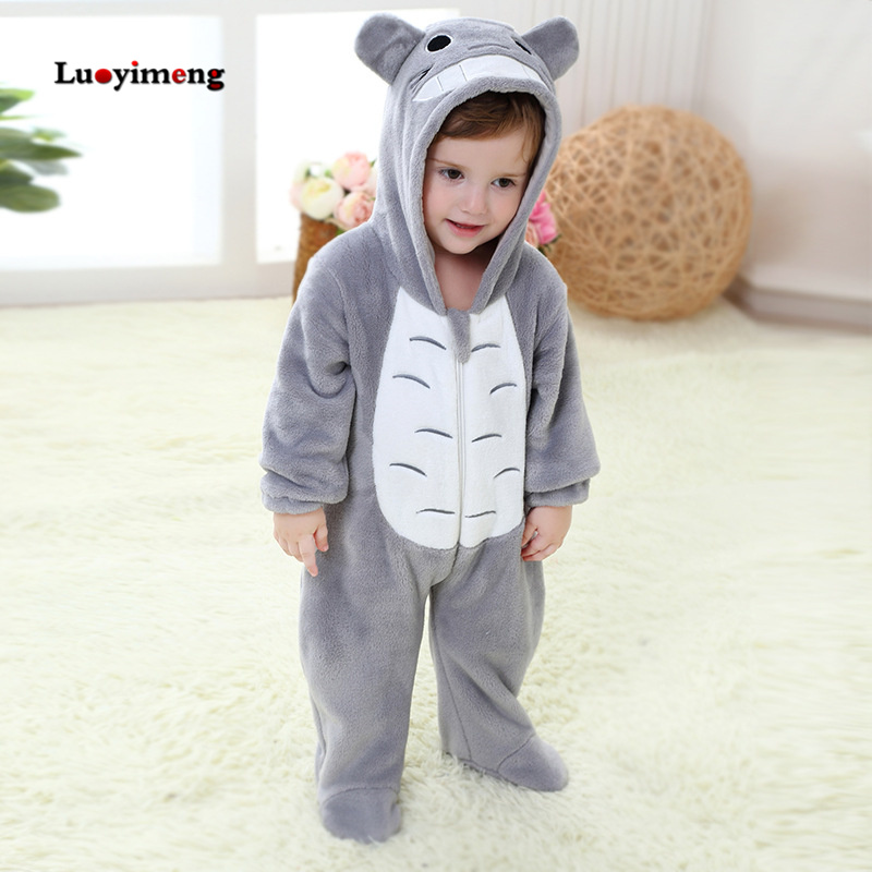 Totoro Animal Baby Rompers Newborn Clothes Cartoon Hooded Boys Winter One-pieces Romper Halloween Outfit Overalls Jumpsuit Kids free shipping winter newborn infant baby clothes baby boys girls thick warm cartoon animal hoodie rompers jumpsuit outfit yl