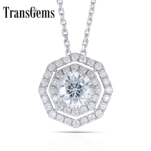 Transgems 14K 585 White Gold 1.4CTW Octangle 6MM F Color Moissanite Double Halo Pendant Necklace with Accents