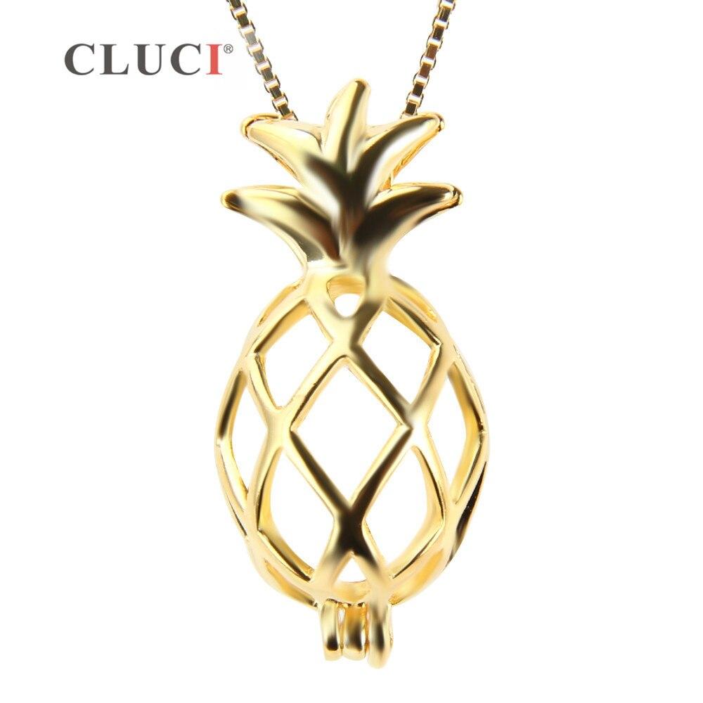 CLUCI Fine Bijoux plaqué or Minuscule Ananas Fruits Mignon Charme Réel 925 Collier En Argent Sterling Bijoux De Mode Cadeau pour les Femmes