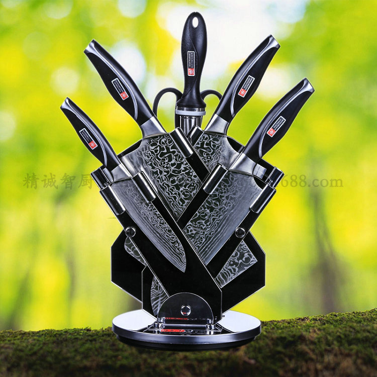 kitchen knife sets for sale and bath new 7p set hot damascus steel germany chef cleaver forged black 360 rotation block in from home garden