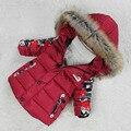 Новый ребенок снег износ меховой воротник зимняя куртка девушка утка костюм парни одежда дизайнеров бутик дети наряды