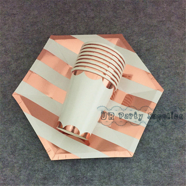 24 Sets Rose Gold Foil Party Supplies Party Table Setting Disposable ...