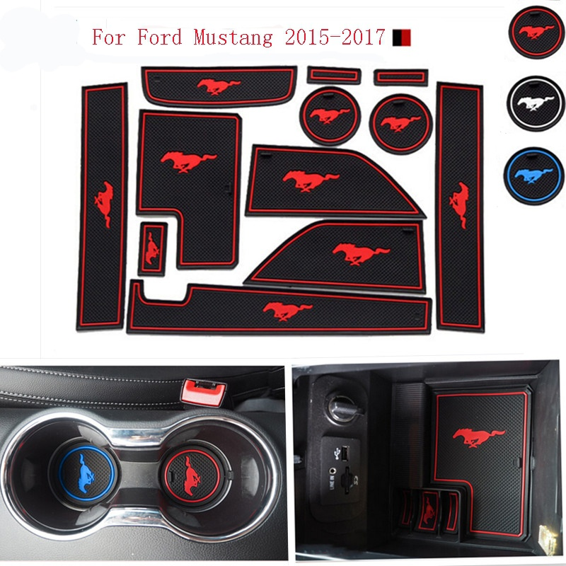 For Ford Mustang 2015-2017 Accessories,3D Rubber Car Mat Car Anti Slip Mat, Non-slip Mats Interior Door Pad/Cup Mat for mitsubishi outlander 2013 2014 2015 2016 accessories 3d rubber car mat anti slip mat interior door pad cup mat 14pcsoriginal