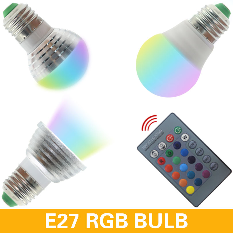E27 E14 GU10 LED RGB Bulb Lamp AC110V 220V 9W LED RGB Spot Light Dimmable Magic Holiday RGB Lighting IR Remote Control 16 Colors