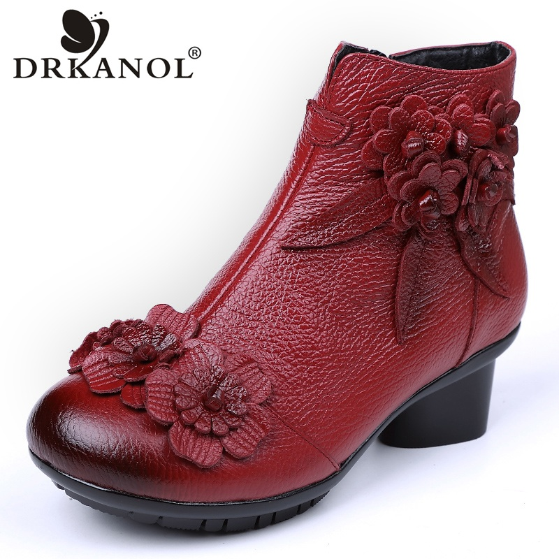 DRKANOL Big Size 35-42 Thick Heel Women Boots Round Toe Flowers Genuine Leather Warm Ankle Boots For Women Autumn Winter Shoes xiangban women leather boots round toe handmade women ankle boots comfortable thick heel autumn shoes