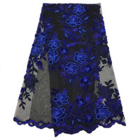 ZJ186 Royal Blue And Black High Quality French Net Lace Fabric Velvet Appliqued African Net Lace