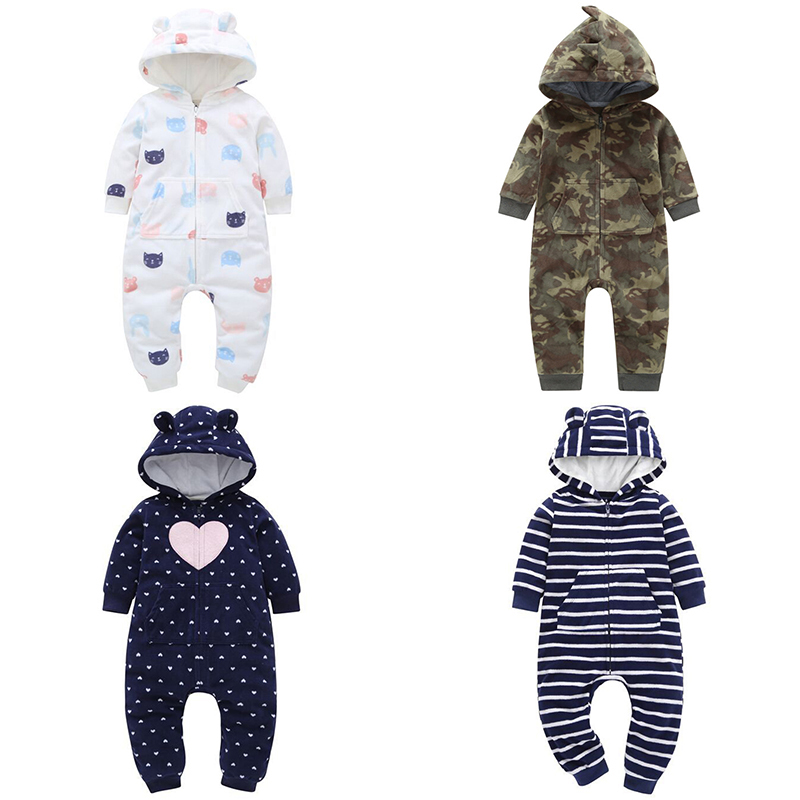 Infant Baby   Rompers   Cotton Padded Thicken Warm Girls Clothing Autumn Winter Cartoon Toddler Hooded Clothes Newborn Jumpsuits