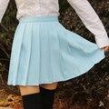 Agua japonés color de cintura alta faldas plisadas estudiante JK Girls sólido plisado falda linda de la escuela Cosplay uniforme falda