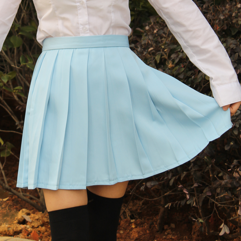 Water color Japanese high waist pleated skirts JK student Girls solid - Women's Clothing