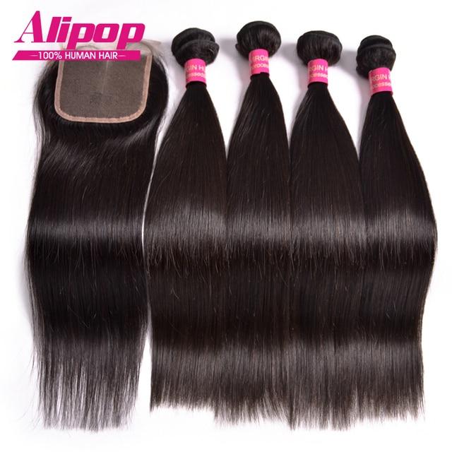 Перуанский Прямо Девы Волос С Закрытием 4 Связки С Закрытием, Перуанский Девственные Волосы С Закрытием Перуанский Волосы С Закрытием