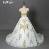 A Line Prices In Euros Embroidery Gold With White Sweetheart Vestido De Noiva Appliqued Lace Bridal