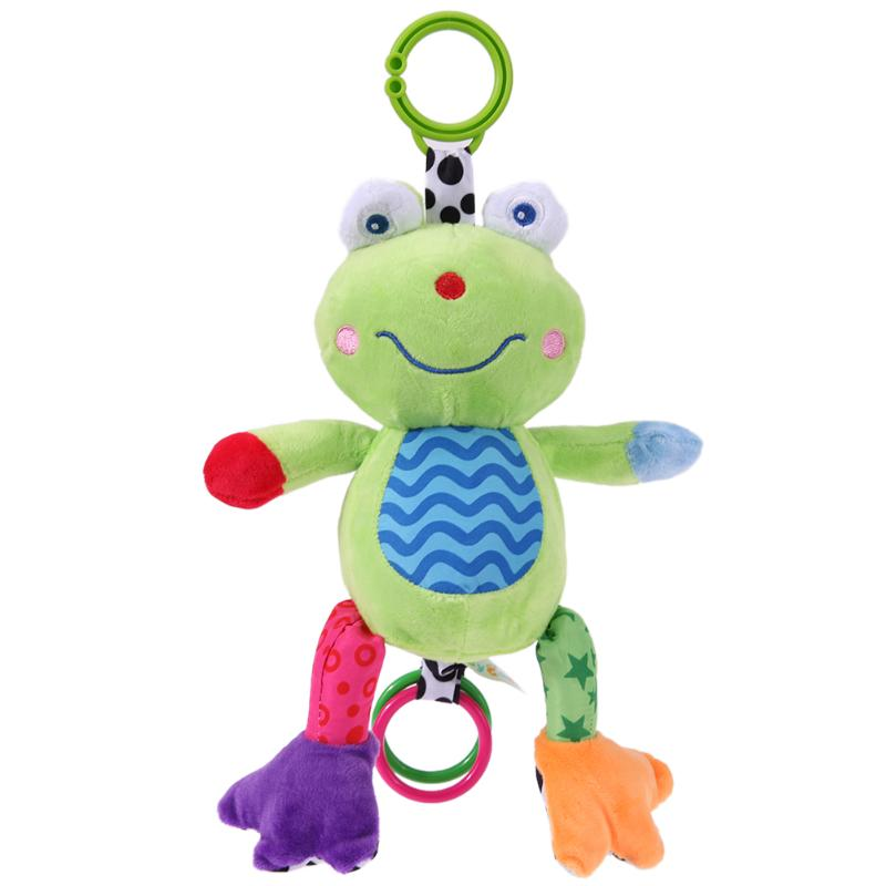 Newborn Baby Infant Cartoon Frog Colorful Music Plush Pull Bell Rattle Toys Bed Crib Stroller Hanging Baby Appease Rattles Toy