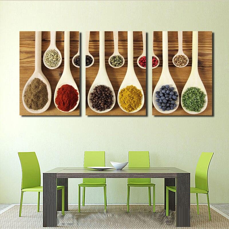 Wanddecoratie Canvas Keuken.Us 14 16 45 Off 3 Stuks Moderne Restaurant Wanddecoratie Verschillende Kruiden Olieverfschilderijen Afgedrukt Op Canvas De Foto Voor Keuken Kamer